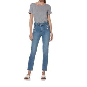 PAIGE Sarah Slim Exposed Buttons Belted Jeans